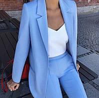 Модный костюм женский (брюки и пиджак, цвет голубой, ткань - креп костюмка) Размер S, M, L (розница и опт)