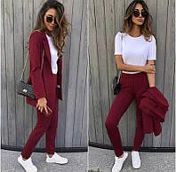 Костюм женский брючный (брюки и пиджак, бордо, ткань - креп костюмка) Размер S, M, L (розница и опт)