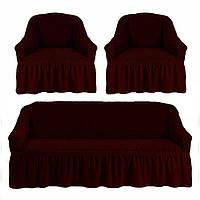 Чехлы для мебели диван + 2 кресла love You вишня