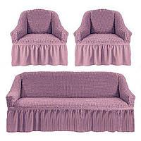 Чехлы для мебели диван + 2 кресла love You лиловый