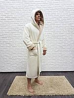 17dc95486a018 Мужской халат с капюшоном микрофибра Nusa велюр/махра 7210 крем 1 3XL