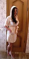 Женский халат с капюшоном бамбук 100% Nusa велюр 625 крем S