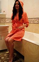 Женский вафельный халат с капюшоном бамбук 100% Nusa 8205 Кораловый S