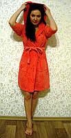 Женский халат с капюшоном бамбук 100% Nusa велюр 8210 коралловый L/XL