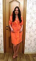 Женский халат с капюшоном бамбук 100% Nusa тонкий трикотаж 8265 коралловый S