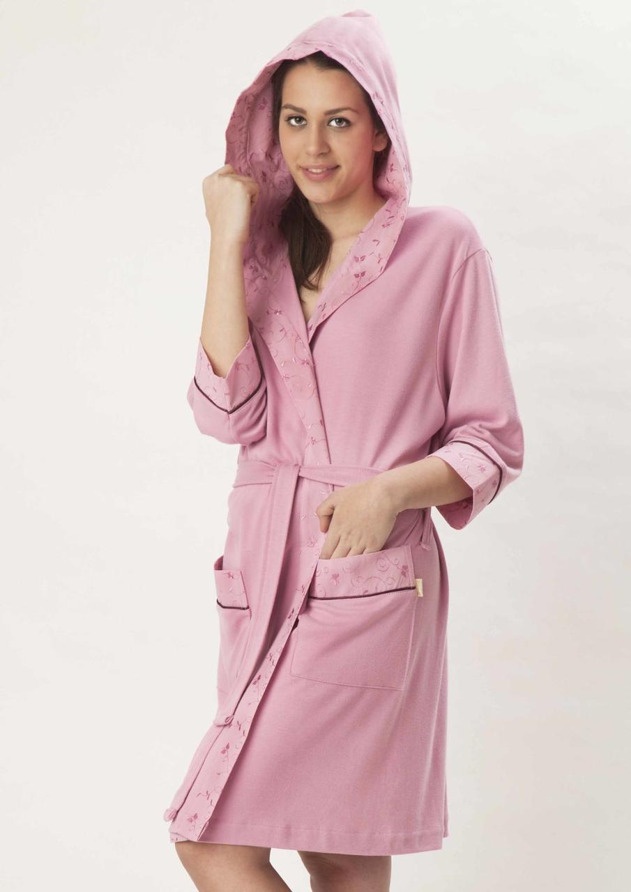 Женский халат с капюшоном бамбук 100% Nusa тонкий трикотаж 8265 сиреневый S