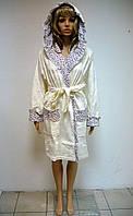 Женский халат с капюшоном бамбук 100% Nusa велюр/махра 8300 кремй S