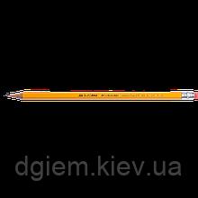 Карандаш графитовый JOBMAX HB с ластиком желтый