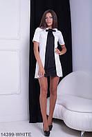Элегантное и лаконичное платье-трапеция с воротником и декоративным галстуком Ledі