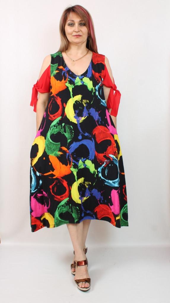 Турецкое яркое летнее платье с оригинальным принтом, 50-60