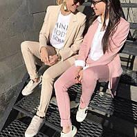 Женский костюм 2019 (брюки и пиджак, цвет - пудра, ткань - креп костюмка) Размер S, M, L (розница и опт)