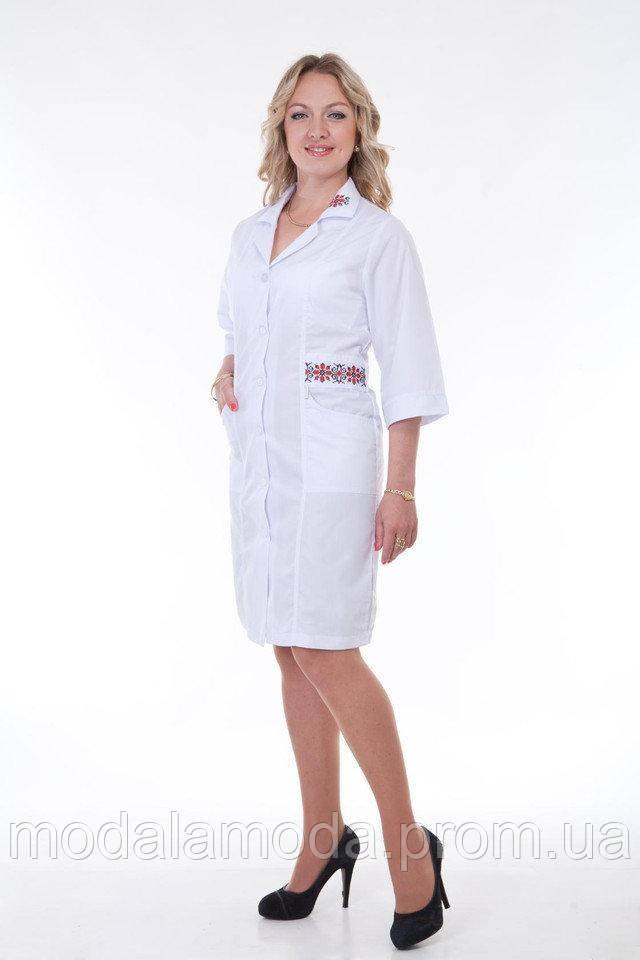 Халат медицинский женский с украинской вышивкой на кармане