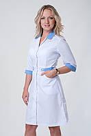 Халат медицинский женский однотонный с голубыми вставками и на пуговицах