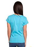 Футболка с кружевом женская однотонная трикотажная хлопковая, голубая, фото 2