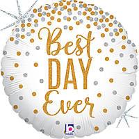 """Найкращий день! золото, сереб 18"""" (45 см) коло гліттер гологр Grabo Італія куля фольгований"""