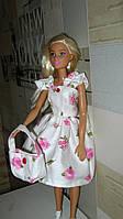 Одежда для кукол Барби. Нежное красивое платье и сумочка для Барби.