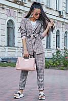 ✔️ Женский классический костюм в клетку 42-48 размера серо-розовый в клетку, фото 1