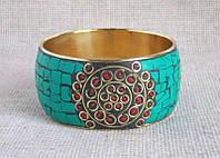 Бирюзовый индийский этнический браслет с костяными вставками, фото 1