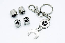Колпачки на нипель с логотипом Mazda и брелком ключиком TIRE VALVES YX-088 логотип Мазда
