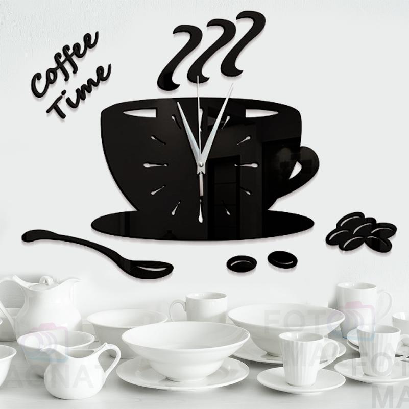 """Настінні годинники на кухню, 3D годинник для кухні або кав'ярні з дзеркальним ефектом - Coffee Time"""" (50 х 40 см)"""