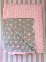 Плюшевый плед на кушетку 120 см на 160 см - розовый цвет (пупырышку )