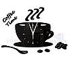 """Настінні годинники на кухню, 3D годинник для кухні або кав'ярні з дзеркальним ефектом - Coffee Time"""" (50 х 40 см), фото 7"""