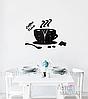 """Настінні годинники на кухню, 3D годинник для кухні або кав'ярні з дзеркальним ефектом - Coffee Time"""" (50 х 40 см), фото 2"""