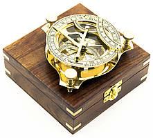 Солнечные Часы с Компасом Бронзовые в Деревянном Футляре
