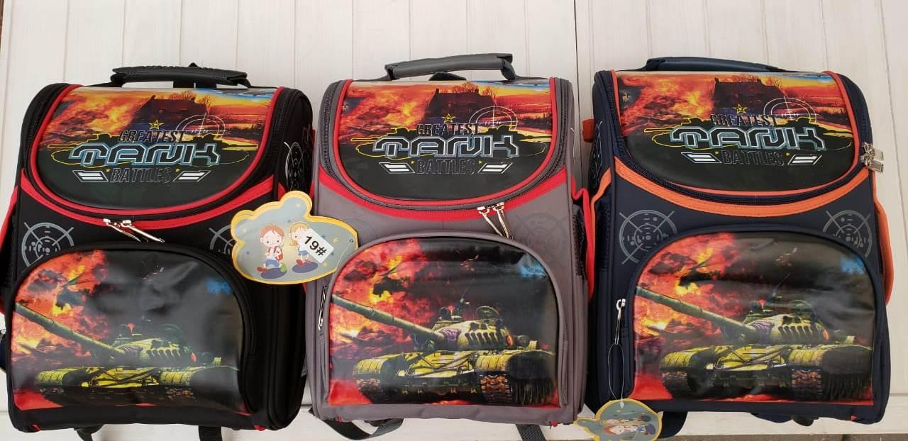 Рюкзак школьный каркасный (ортопедический) для мальчиков Танки размер 37х25х15
