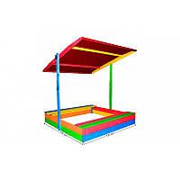 Детская деревянная песочница с крышей ЭКО ( пісочниця ЕКО )120*120