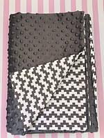 Плюшевый плед на кушетку 120 см на 160 см - графит цвет (пупырышку )