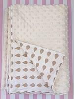 Плюшевый плед на кушетку 120 см на 160 см - молочный цвет (пупырышку )