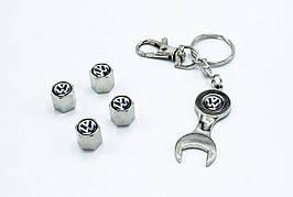 Колпачки на нипель с логотипом Volkswagen и брелком ключиком TIRE VALVES YX-088 логотип Фольцваген
