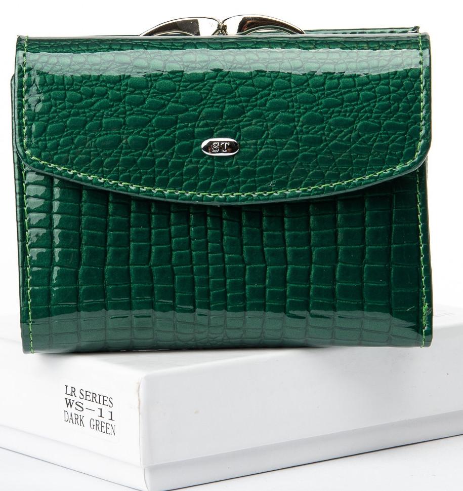 Кошелек женский, лаковый Sergio Torretti WS-11 dark-green, зеленый