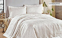 Покрывало с наволочками Hanibaba атлас Gardenia Beyaz White 250х270