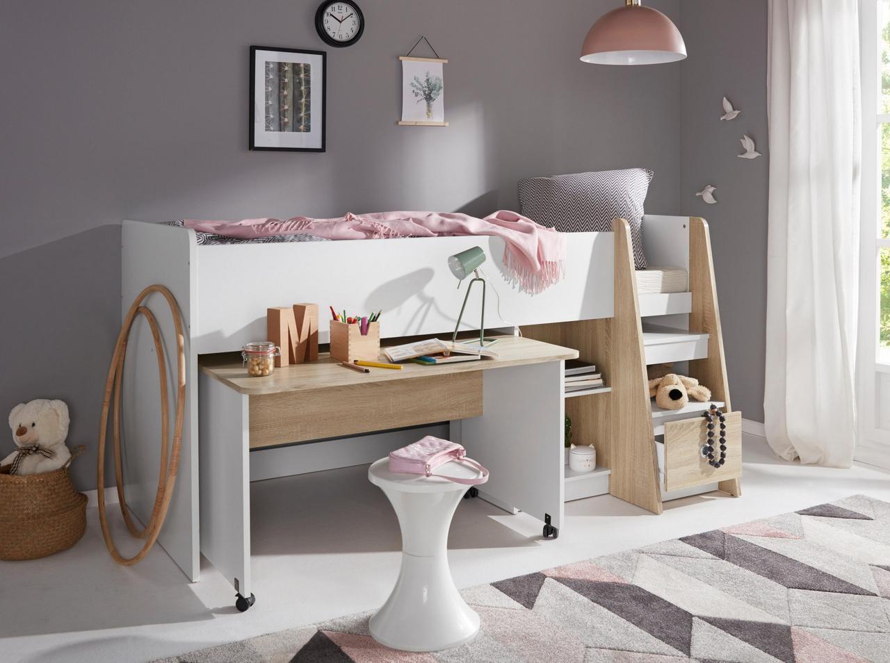 Детская кровать чердак bk01 Белый/Бук натуральный (Mobler TM)
