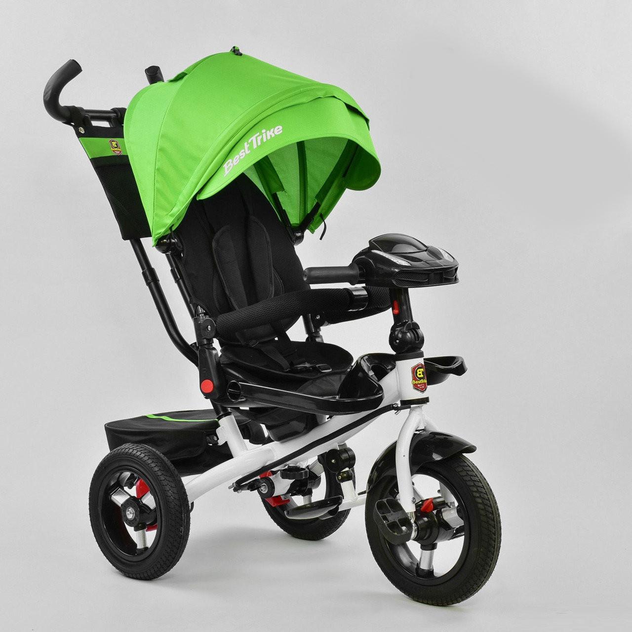 Велосипед детский трехколесный Best Trike 6088 F – 1990 с музыкальной фарой и пультом, зеленый