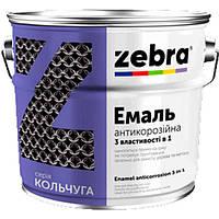 Эмаль Зебра 3 в 1 антикоррозионная 12 белая глянцевая 0.75 кг