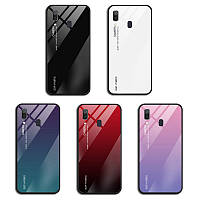 TPU+Glass чехол градиент для Samsung Galaxy A40 2019 A405 (Разные цвета)