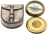 Компас Бронзовый в кожаном чехле d=8 см. Можно носить на ремне