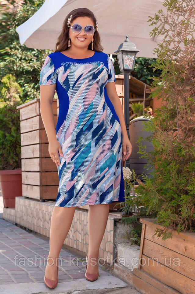 Модное женское летнее платье,ткань масло принт,размеры:52,54,56,58.