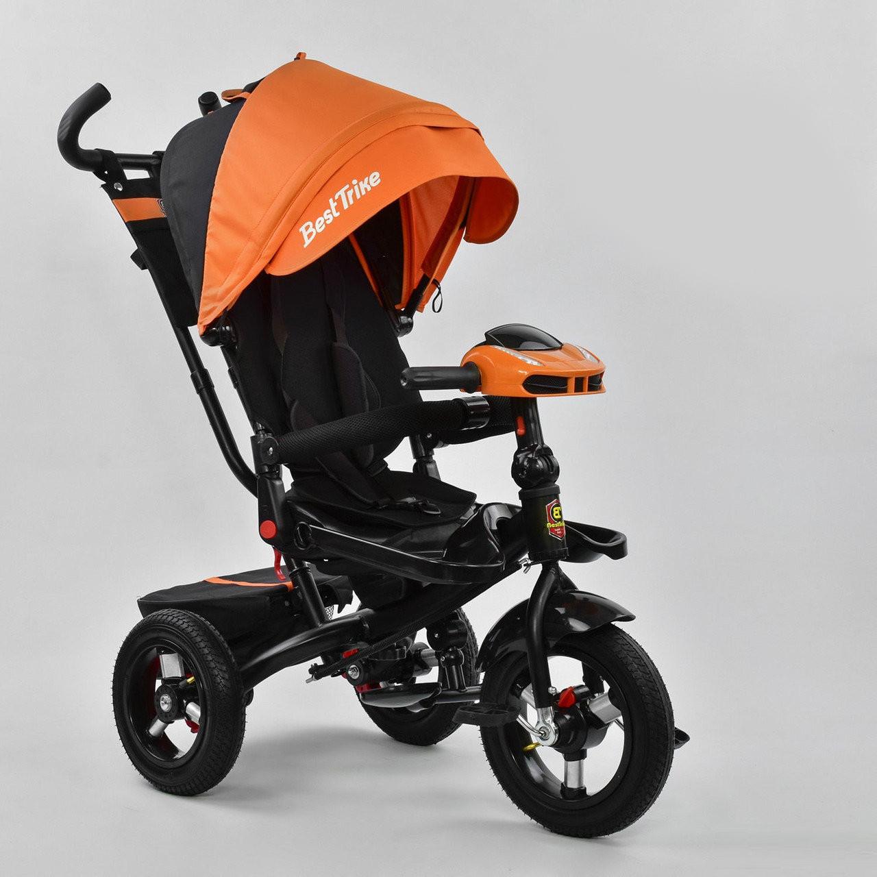 Детский трехколесный велосипед с поворотным сиденьем и музыкальной фарой Best Trike 6088 F – 3020, оранжевый