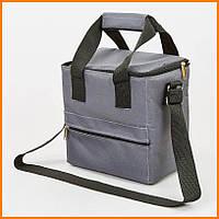 Термосумка для еды и напитков 15 литров Серая для обедов, походов, пикников, в авто.