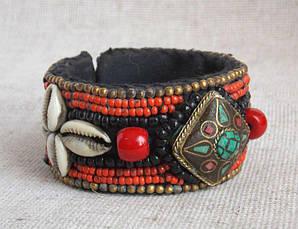Бисерный этнический браслет ручной работы в  стиле бохо