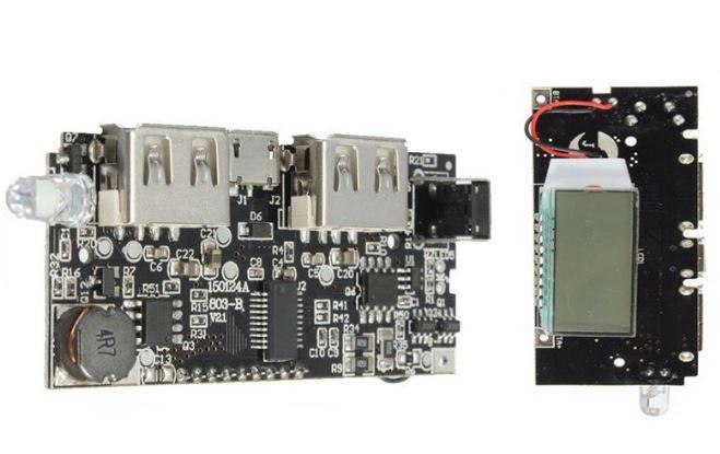 Плата Power Bank с экраном LCD с двумя USB выходами 5V 2.1A / 5V 1A