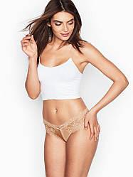 💋 Трусики Чікі Victoria's Secret Lace Cheeky Panty р. М, Бежеві