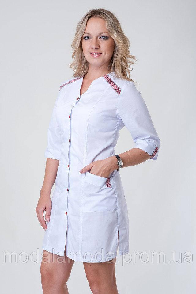 Халат медицинский женский однотонный с красной вышивкой