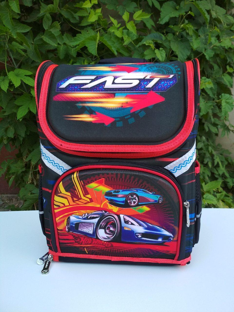 Рюкзак школьный каркасный (ортопедический) для мальчиков Машинка гоночная размер 37х29х20