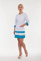 Халат медицинский женский однотонный с карманами и синими полосками