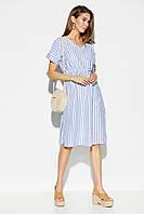 Свободное прямое женское льняное платье миди в полоску, фото 1